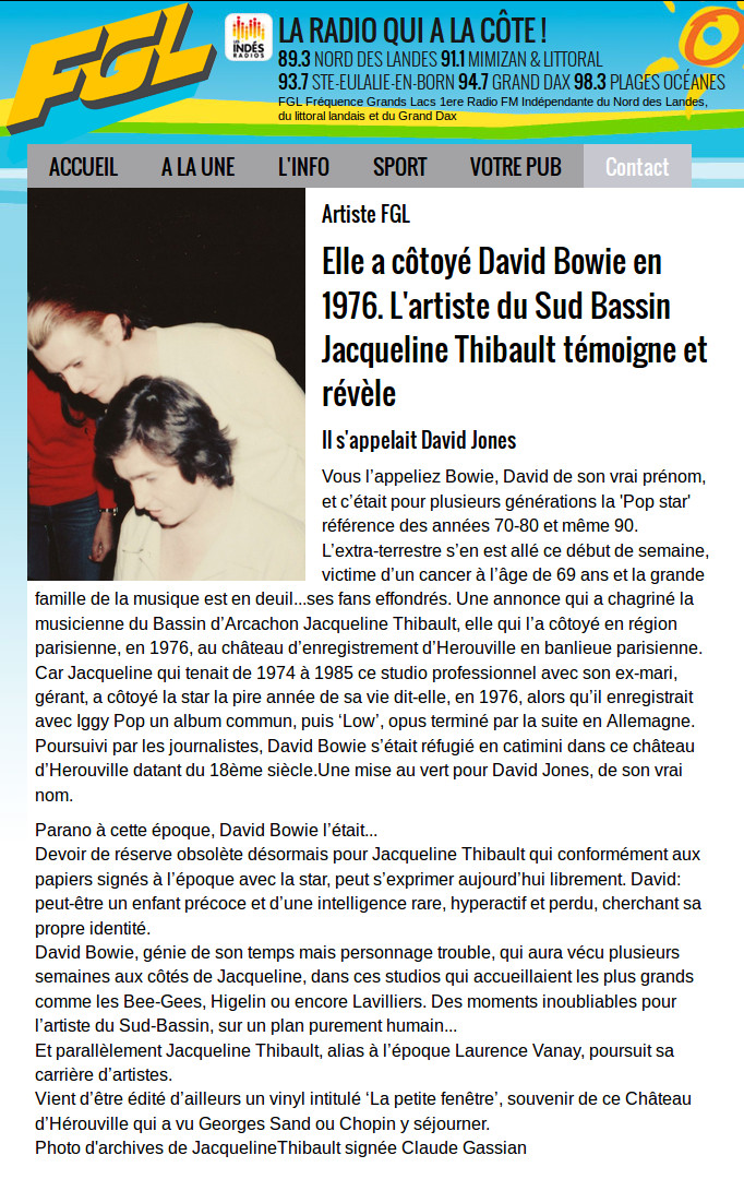 David BOWIE: L'interview sur Fréquence Grand Lac de Jacqueline THIBAULT
